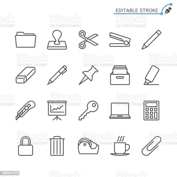 Office Supplies Line Icons Editable Stroke Pixel Perfect - Immagini vettoriali stock e altre immagini di Affari
