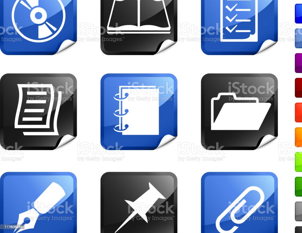 office supplies nine royalty free vector icon set royalty-free stock vector art