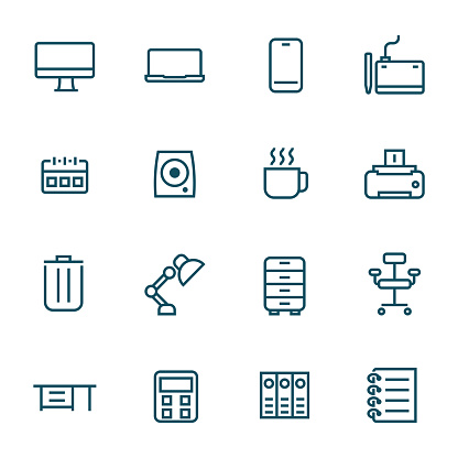 office supplies on work desk simple line icons