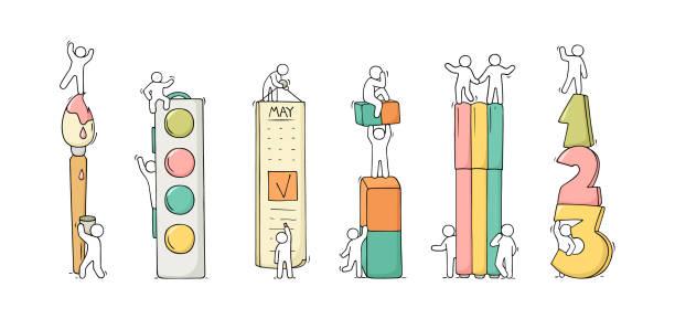 bürobedarf-set mit kleinen leute arbeiten. - filzarbeiten stock-grafiken, -clipart, -cartoons und -symbole