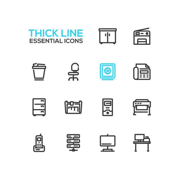 office supplies - thick single line icons set - schrankkorb stock-grafiken, -clipart, -cartoons und -symbole