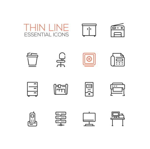 office supplies - thin single line icons set - schrankkorb stock-grafiken, -clipart, -cartoons und -symbole