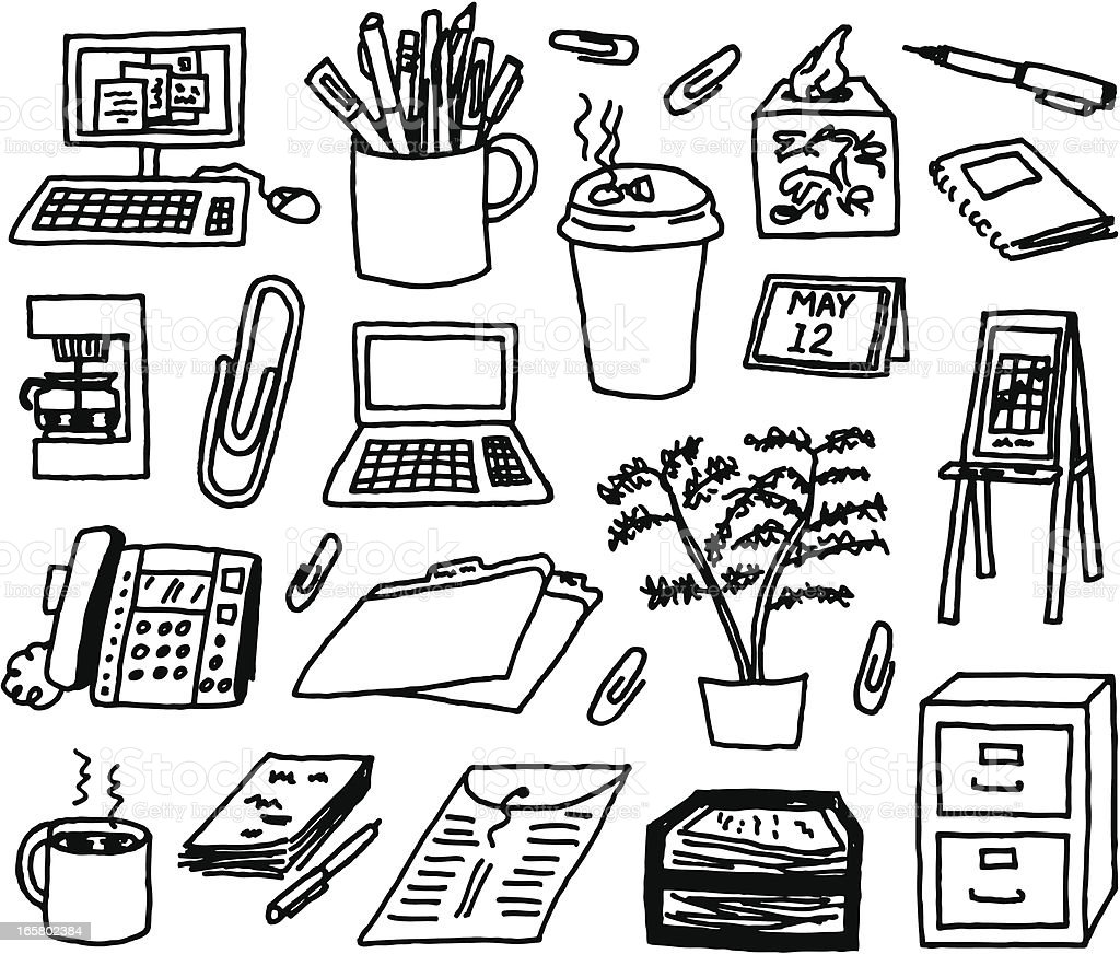 Office Supply Doodles A doodle page of office supplies. Ballpoint Pen stock vector