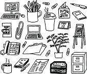 A doodle page of office supplies.