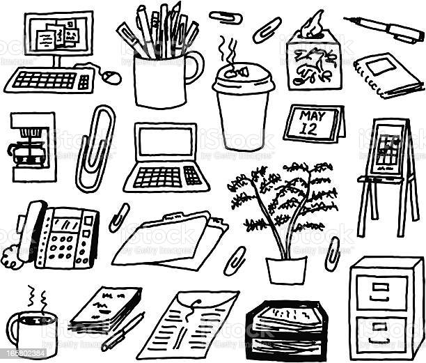 Office Supply Doodles Stock Illustration - Download Image Now