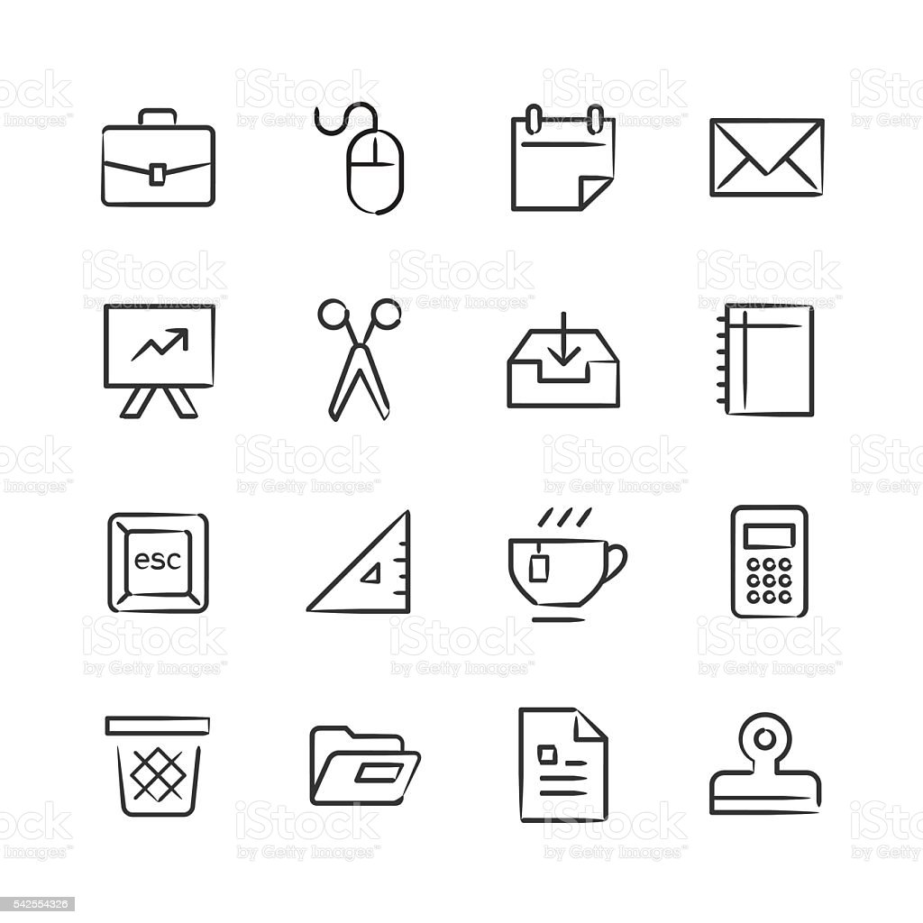 Office Supply Icons 2 — Sketchy Series vector art illustration