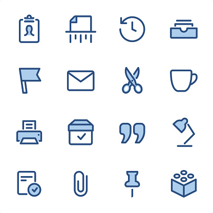 Office Supply icons set #07 Specification: 16 icons, 36x36 pх, stroke weight 2 px Features: Pixel Perfect, Dichromatic, Single line   First row of icons contains: ID Card, Shredder, Backup icon, Filing Tray;  Second row contains: Flag, E-Mail, Scissors, Cup;  Third row contains: Printer, Cardboard, Quotes, Table Lamp;   Fourth row contains: Done, Clip, Thumbtack, Plastic Block.  Complete BLUE MICO collection - https://www.istockphoto.com/collaboration/boards/Y8ZYtc2sY0qNQVGRttlncQ