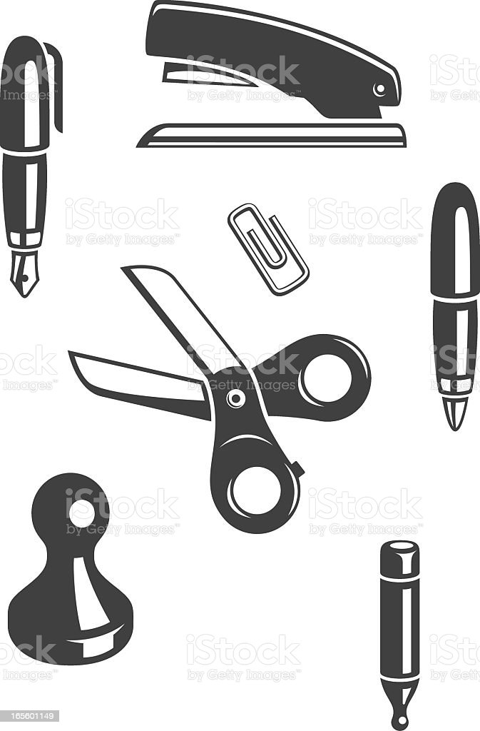 Office Supply (Black and White) royalty-free office supply stock vector art & more images of arts culture and entertainment