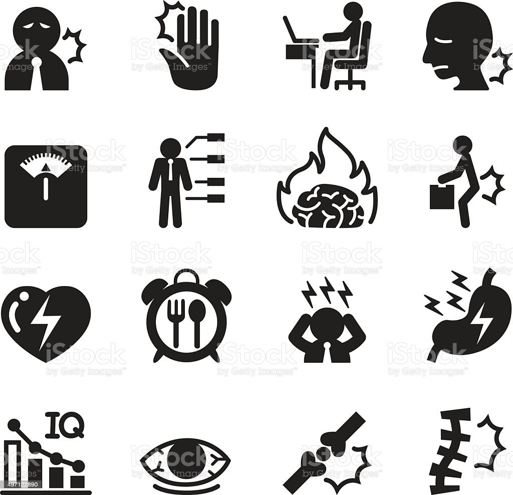 office syndrome icons set vector art illustration