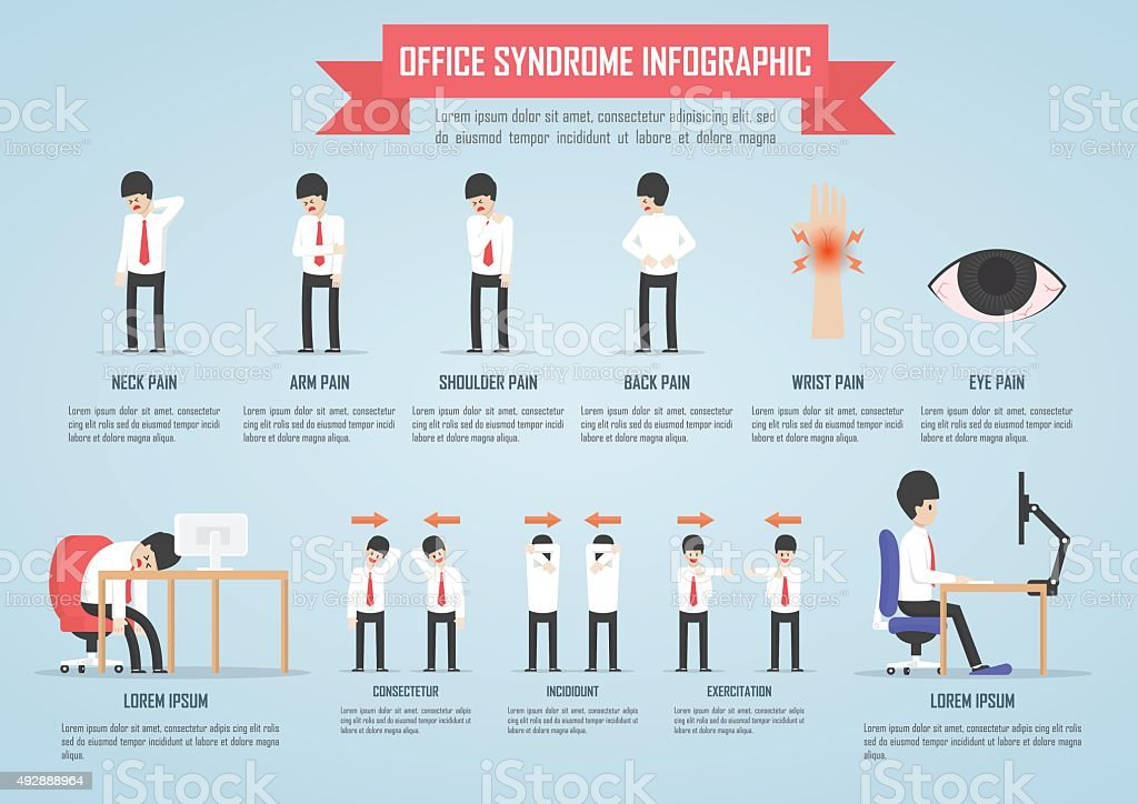 Office syndrome infographic template design vector art illustration