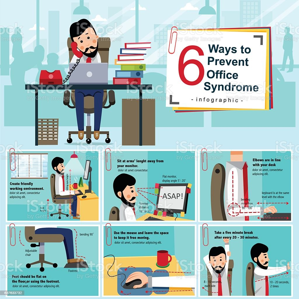 Office Syndrome Infographic - Illustration vectorielle