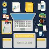 Office table infographics, vector format