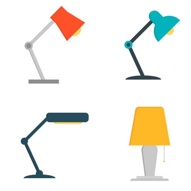 ofis masa lambası simgesi. düz beyaz arka plan üzerinde izole ofis masa lambası resmi - elektrik lambası stock illustrations