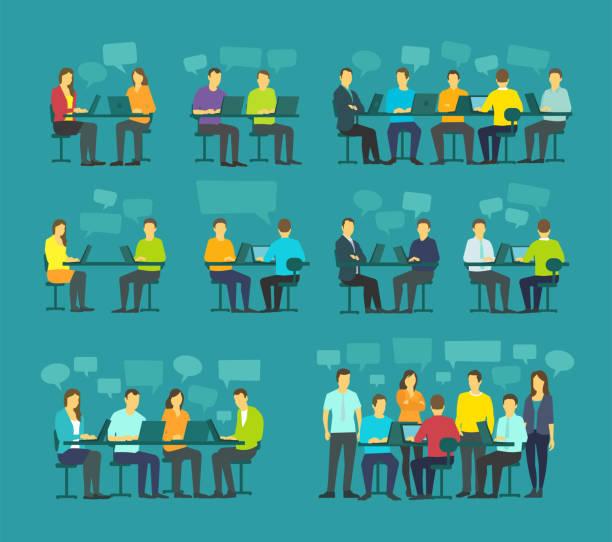 büro geschäft leute große set diskutieren teambesprechung sitzen schreibtisch arbeiten. brainstorming auf blauem hintergrund im gespräch - meeting stock-grafiken, -clipart, -cartoons und -symbole