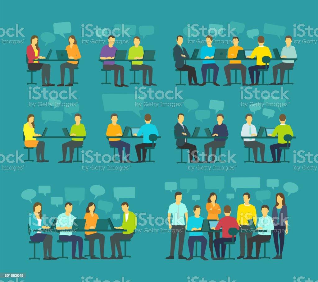 Office team business people big set discussing meeting sit desk working. Brainstorming talking on blue background vector art illustration
