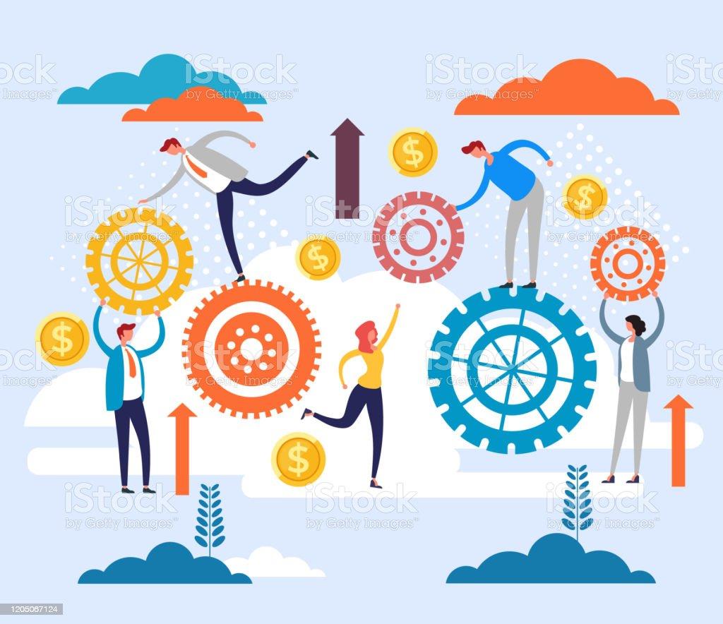 Office Teamwork Structure Organization Gears Concept Vector Flat Cartoon Graphic Design Illustration Stock Illustration Download Image Now Istock