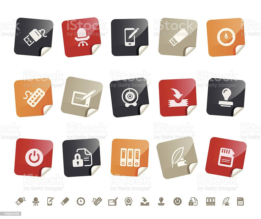 Office & technology icons | sticky series royalty-free stock vector art