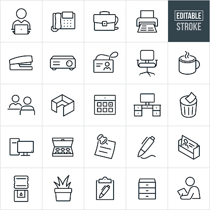 A set of office icons that include editable strokes or outlines using the EPS vector file. The icons include a business person, laptop computer, office telephone, briefcase, office printer, stapler, projector, name badge, office chair, cup of coffee, interview, office cubicle, calendar, computer desk, trash bin, desktop computer, doughnuts, sticky note, pen, business card, water cooler, plant, clipboard, filing cabinet, businessman and other related icons.