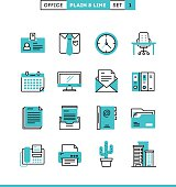 Office things, plain and line icons set, flat design, vector illustration