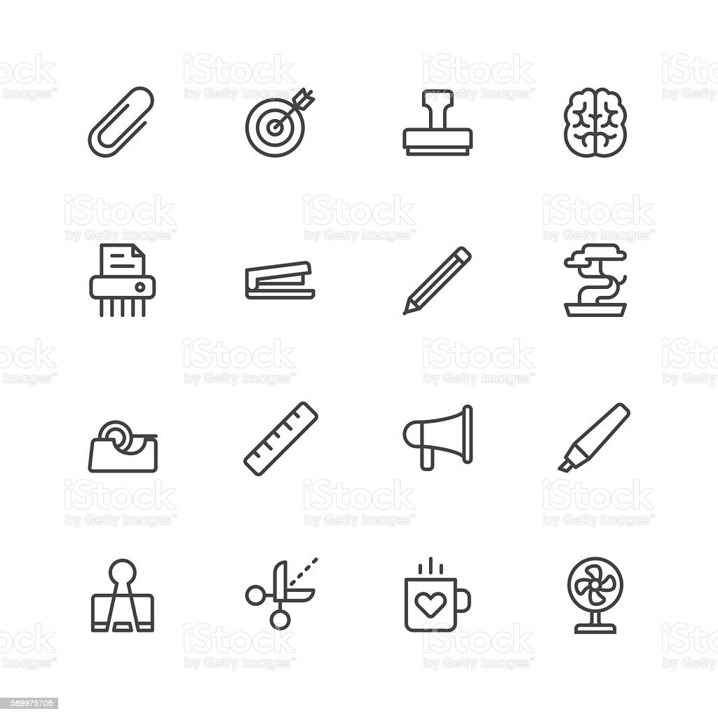 Office tools icons vector art illustration