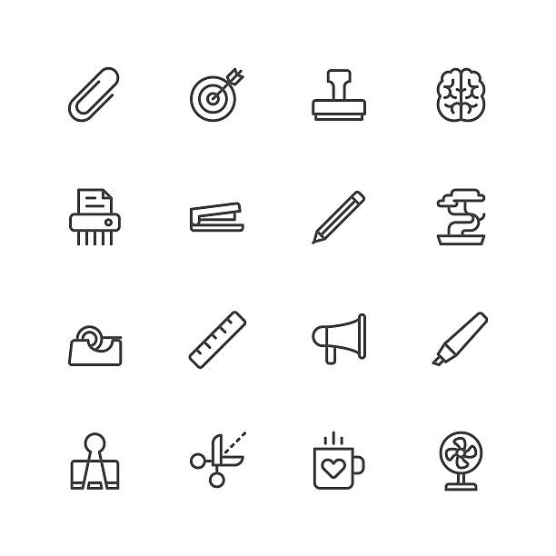 Office tools icons Office tools icons Vector EPS File. stapler stock illustrations