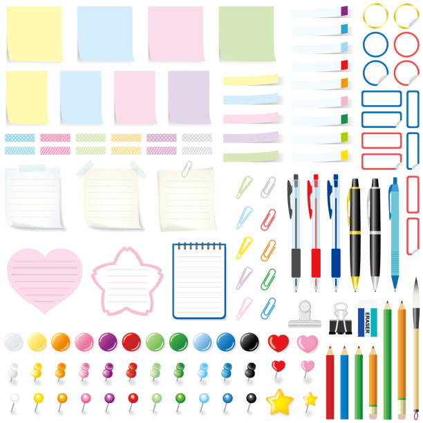 illustrazioni stock, clip art, cartoni animati e icone di tendenza di office tools, isolated on white background. - post it