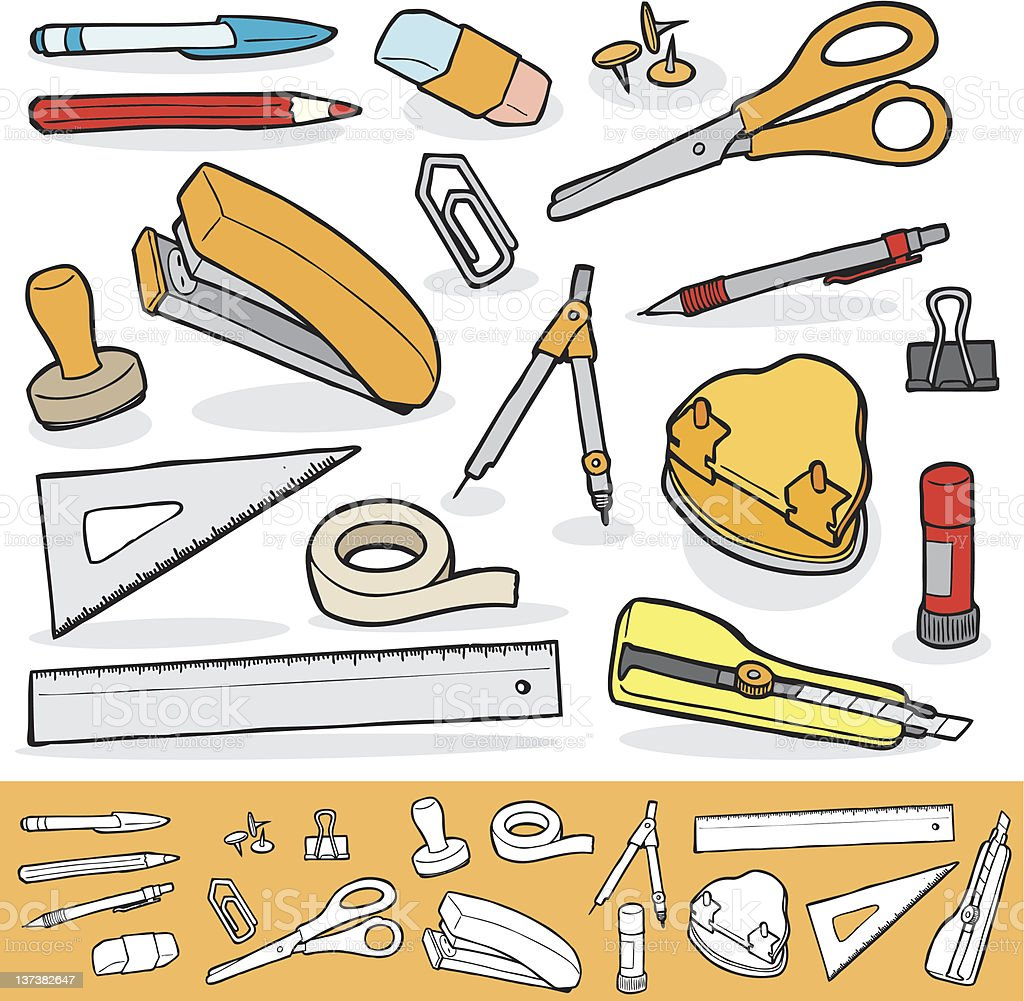 Office Tools Set royalty-free stock vector art