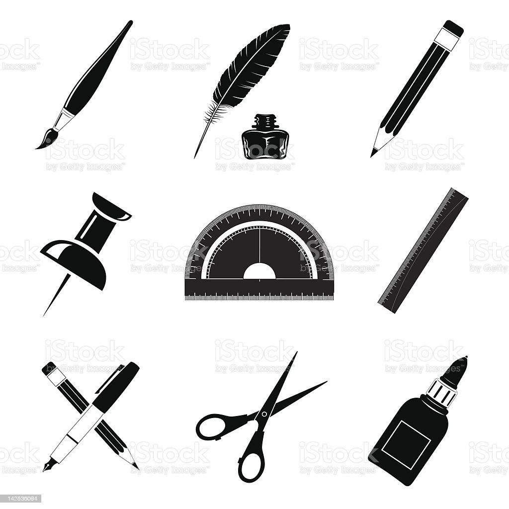 Office tools royalty-free office tools stock vector art & more images of black and white