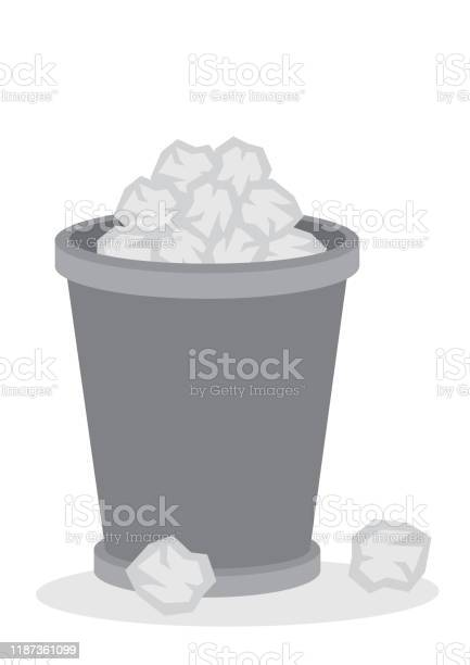 Office Trash Recycle Bin Full Of Paper Garbages Vector Cartoon Illustration Stock Illustration Download Image Now Istock