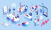 People in open space office concept design. Can use for web banner, infographics, hero images. Flat isometric vector illustration isolated on white background.