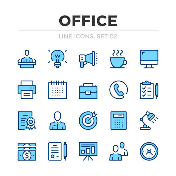 Office vector line icons set. Thin line design. Outline graphic elements, simple stroke symbols. Office icons Office vector line icons set. Thin line design. Outline graphic elements, simple stroke symbols. Office icons blue icons stock illustrations