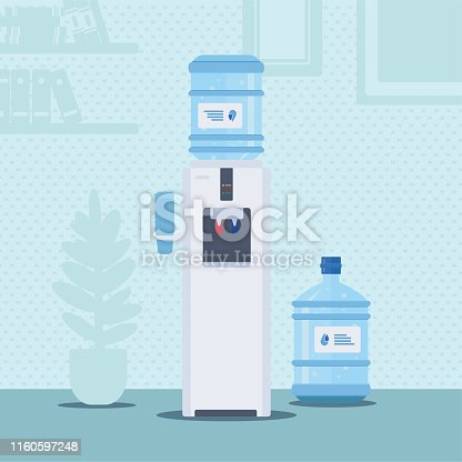 Office water cooler flat vector illustration. Bottles with clean filtered fluid cartoon drawing. Container with potable clear liquid in empty room. Purified drinkable water dispenser