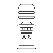 Office water cooler icon in outline style isolated on white background. Office furniture and interior symbol vector illustration.