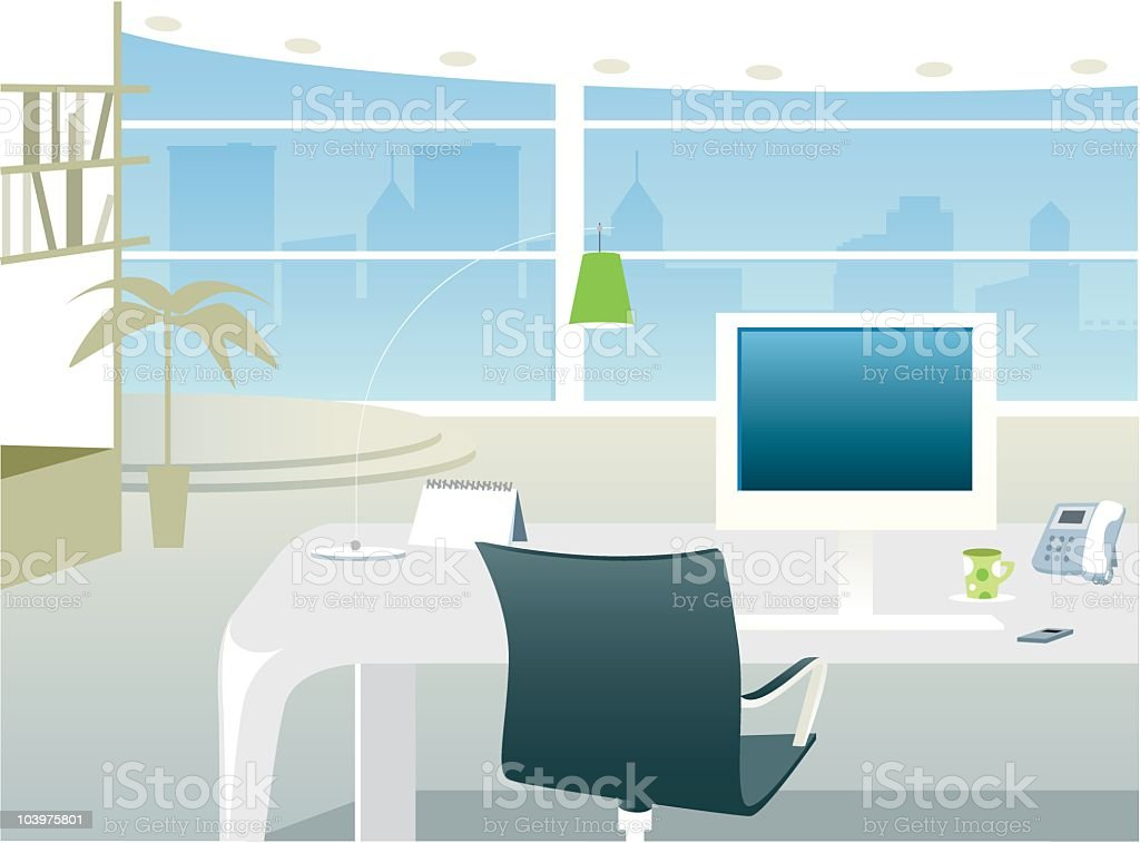 Office with a view interior royalty-free stock vector art