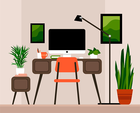 Office with computer and houseplants. Creative workplace room, modern interior, cabinet, co-working center flat horizontal