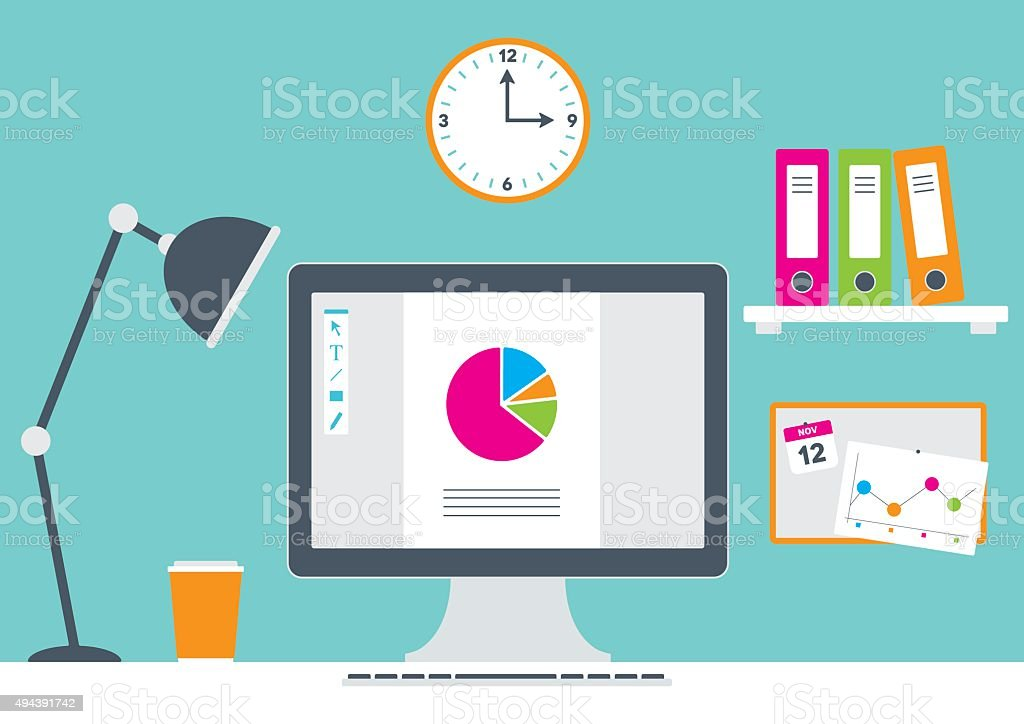 Office with computer and stationery vector art illustration