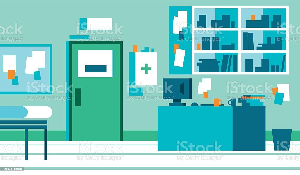 GP Office with desk and files - Illustration vectorielle