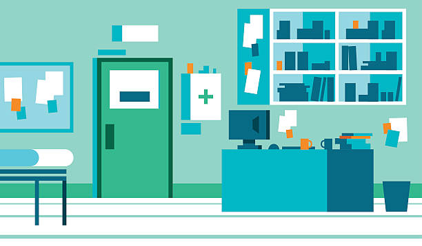 gp office with desk and files - doctors office stock illustrations, clip art, cartoons, & icons