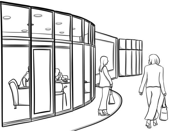 Büro mit Glaswänden – Vektorgrafik