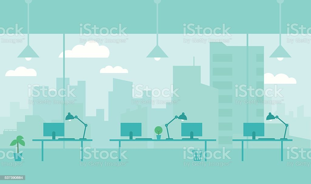 Office with view from window city. Workplace vector art illustration