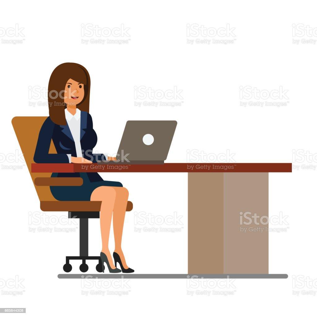 Uberlegen Büro Frau Am Schreibtisch Arbeiten Am Laptop Cartoon Flache Vektor  Illustration Konzept Auf Weißen Hintergrund Isoliert