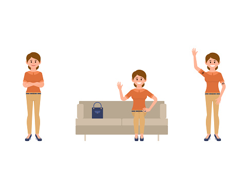 Office woman sitting on sofa, crossed hands, waving cartoon character. Working staff poses