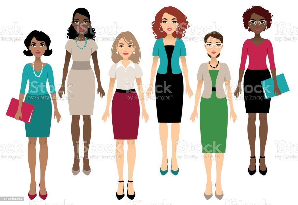 Office women vector art illustration