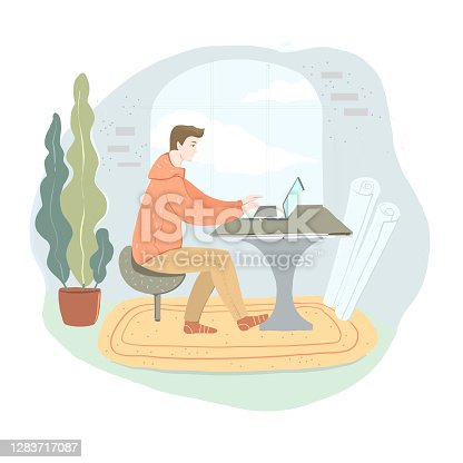 istock Office work and remote work, freelance. Young man working on computer. Vector illustration in flat cartoon style. 1283717087