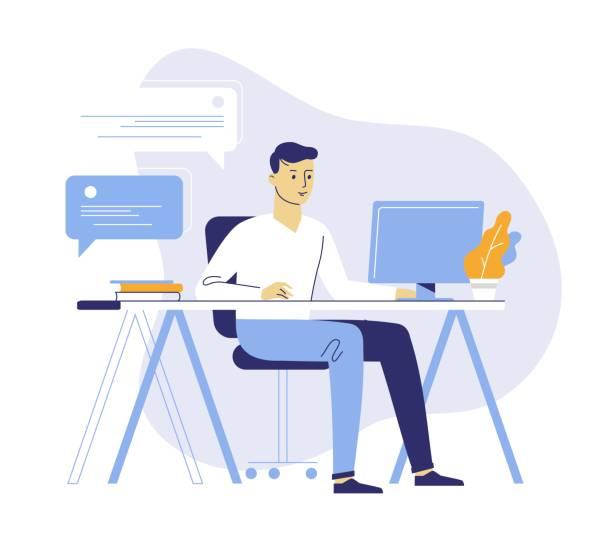 ilustrações, clipart, desenhos animados e ícones de conceito do trabalho de escritório com homem novo - só um homem jovem