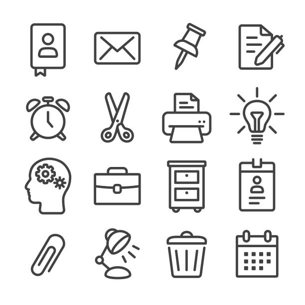office-arbeit-symbol - line serie - kopfleuchten stock-grafiken, -clipart, -cartoons und -symbole