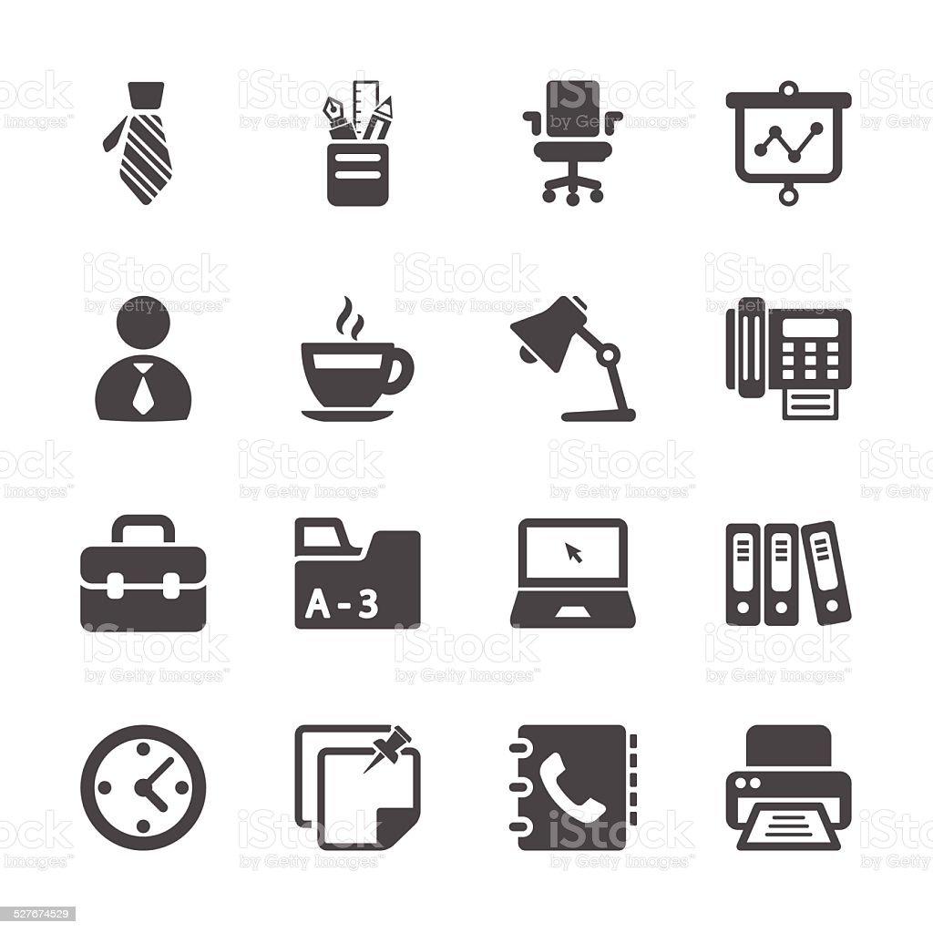 Biuro pracy zestaw ikon, Wektor eps10 - Grafika wektorowa royalty-free (Aktówka)