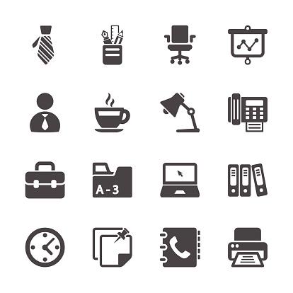 Biuro Pracy Zestaw Ikon Wektor Eps10 - Stockowe grafiki wektorowe i więcej obrazów Aktówka