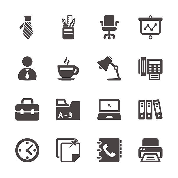 stockillustraties, clipart, cartoons en iconen met office work icon set, vector eps10 - orthografisch symbool