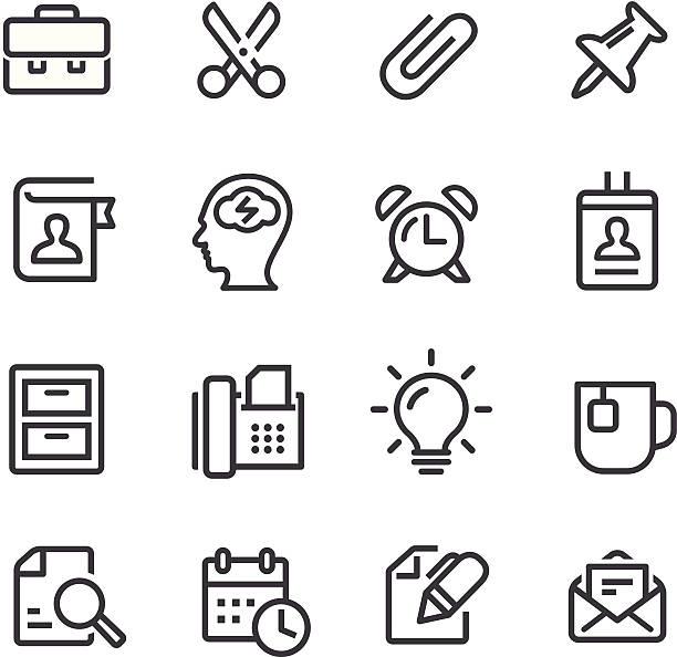 bildbanksillustrationer, clip art samt tecknat material och ikoner med office work icons - line series - brain magnifying